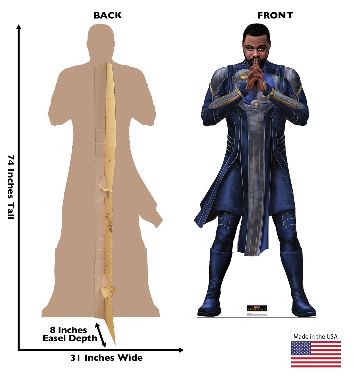 Life-size cardboard standee of Phastos from the Marvel movie The Eternals with back and front dimensions.