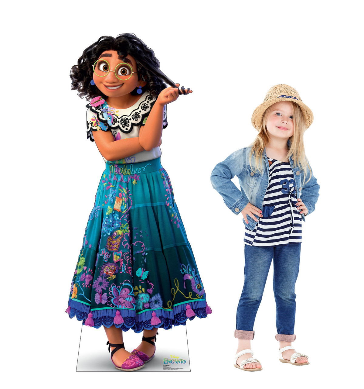 Life-size cardboard standee of Mirabel from the Disney's movie Encanto with model.