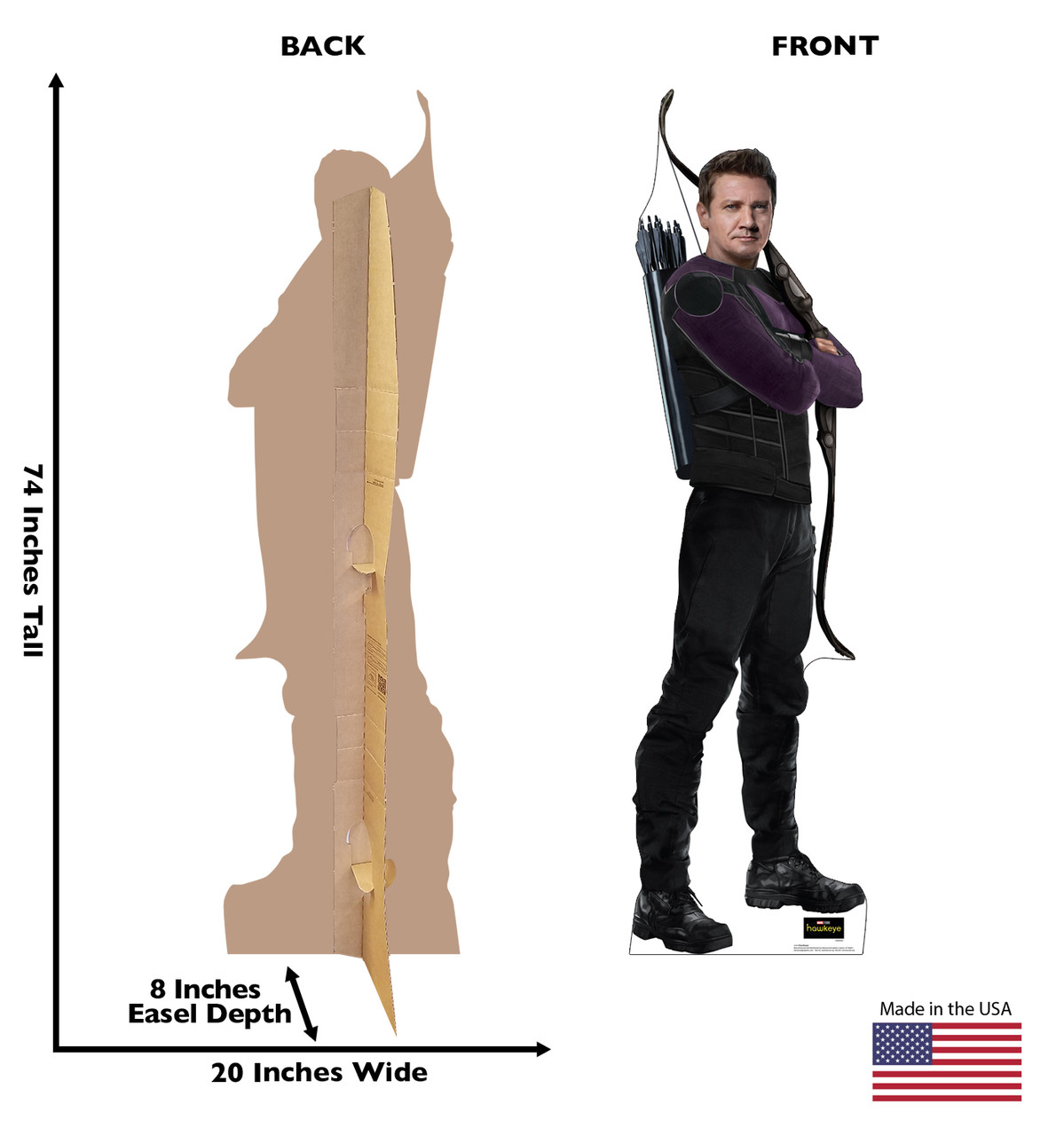 Life-size cardboard standee of Hawkeye from the Disney+ Hawkeye TV Series with back and front dimensions.