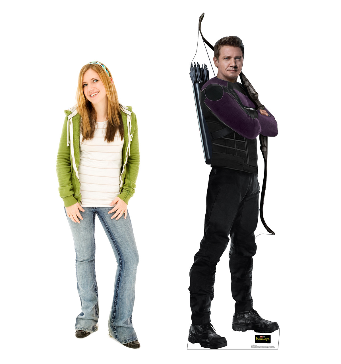 Life-size cardboard standee of Hawkeye from the Disney+ Hawkeye TV Series with model.