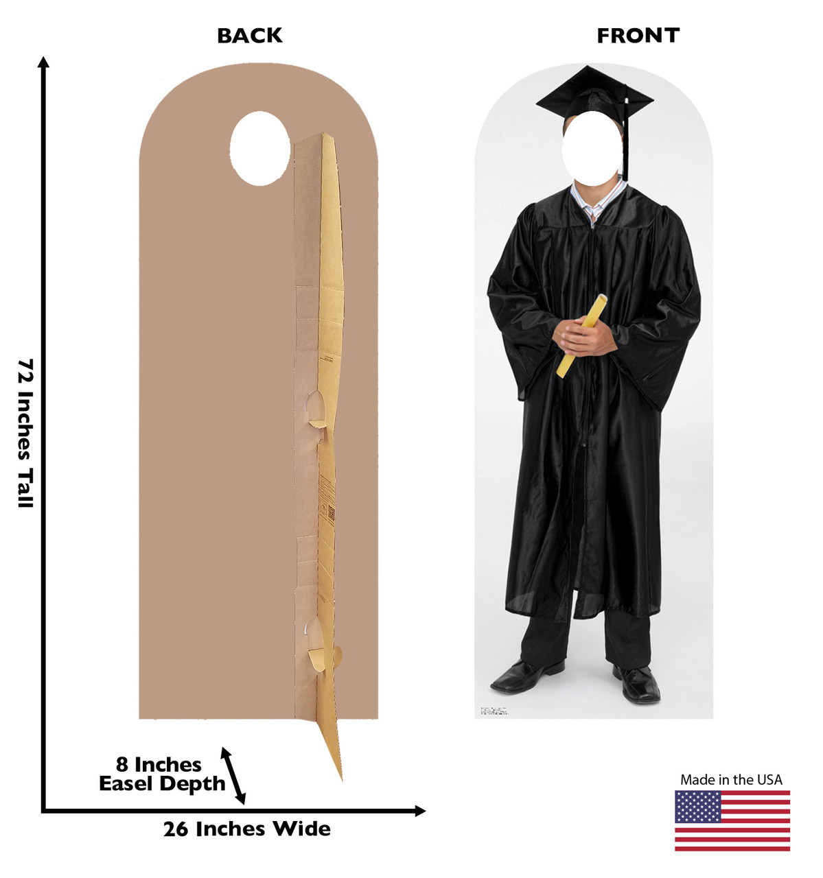 Life-size cardboard standin of graduate with back and front dimensions.