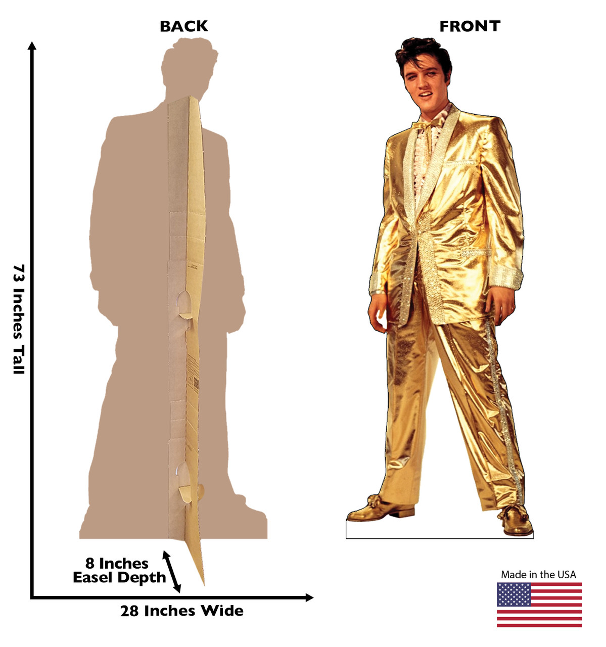 Elvis Presley Gold Suit Cardboard Cutout front and back