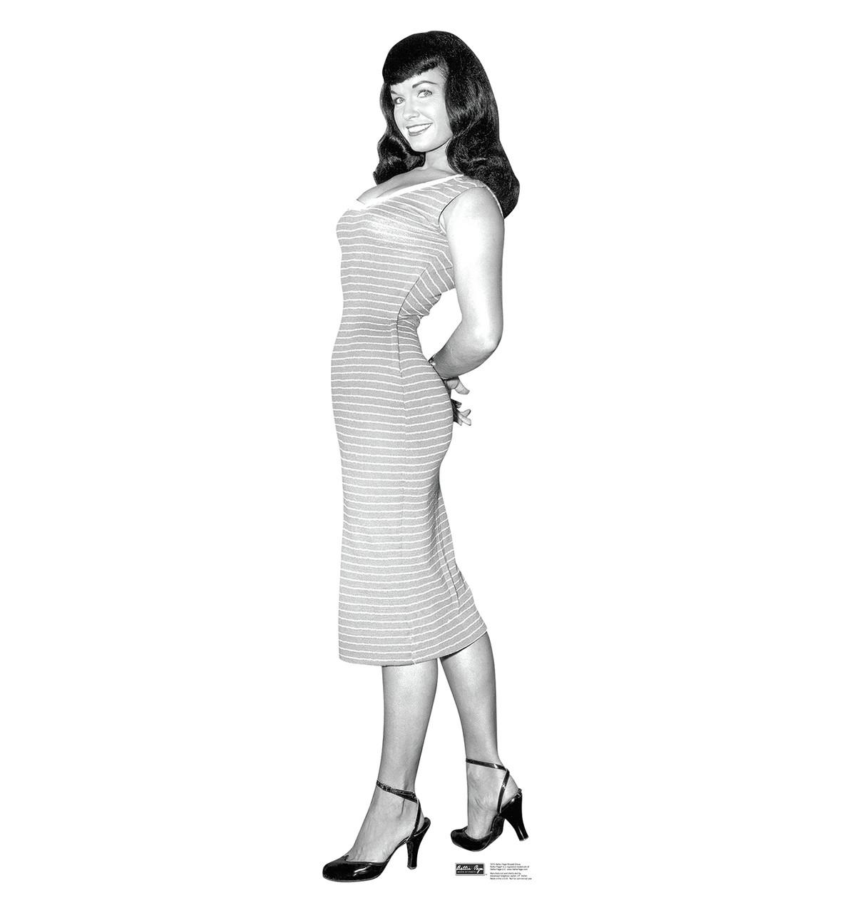 Life-size Bettie Page - Striped Dress Cardboard Standup | Cardboard Cutout
