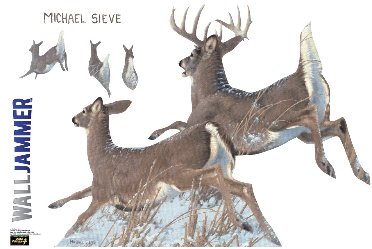Life-size Jumping White-Tailed Deer WallJammer Wall Decal
