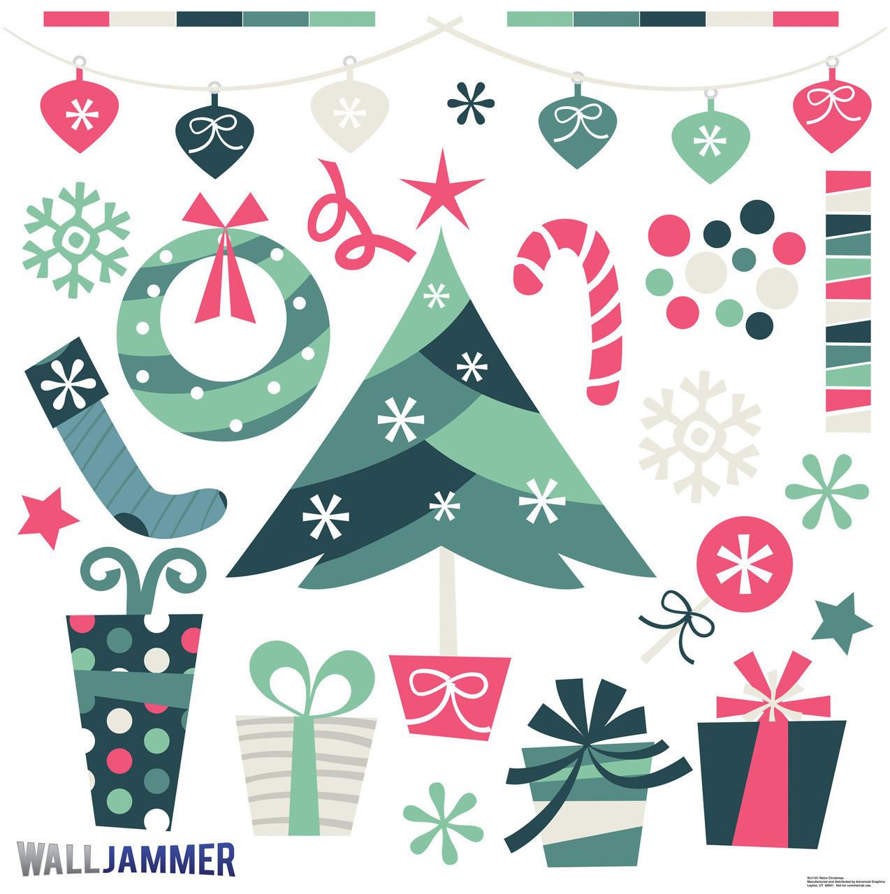 Life-size Retro Christmas Wall Decal