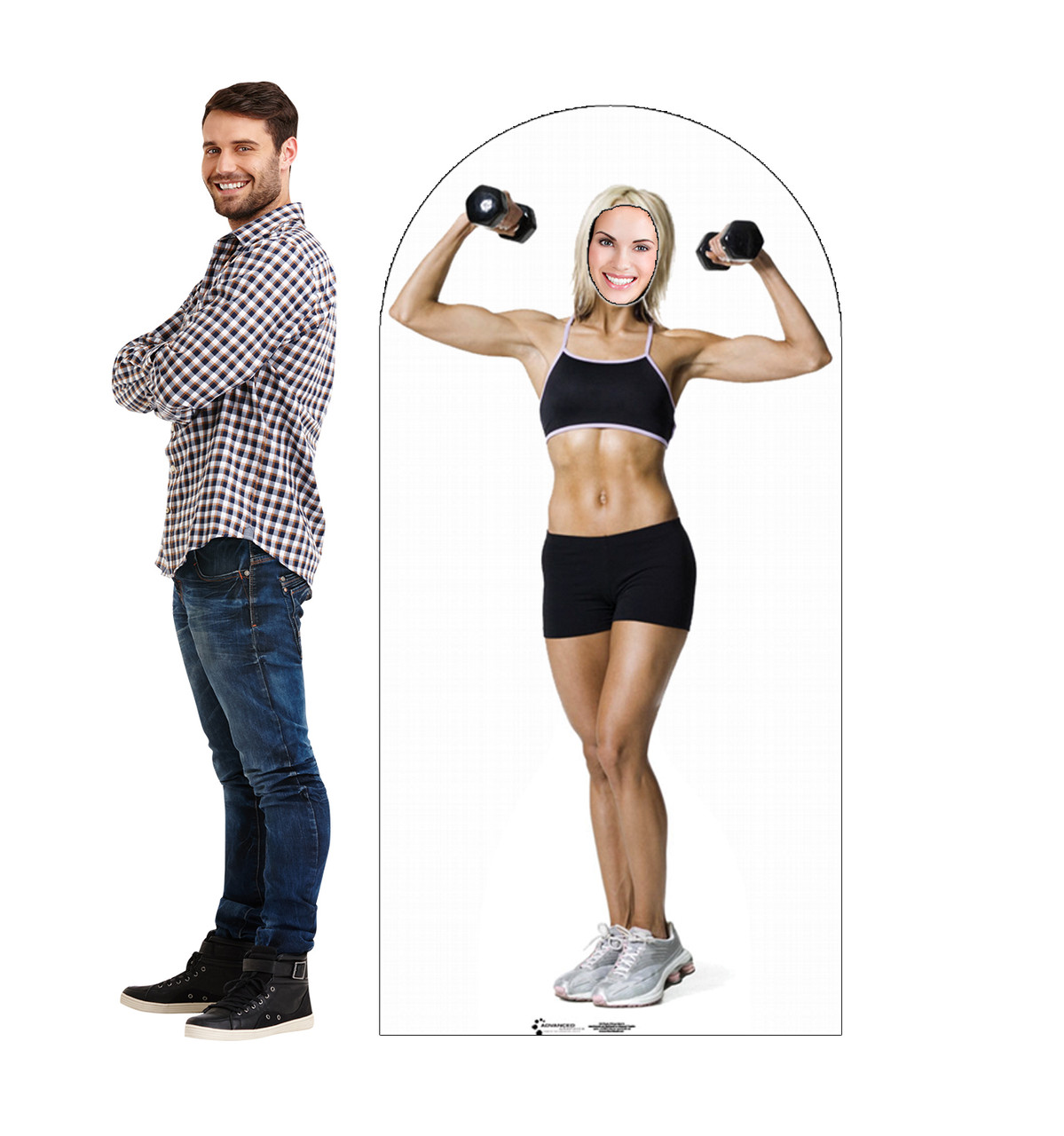 Life-size cardboard stand-in of a muscle women with model.