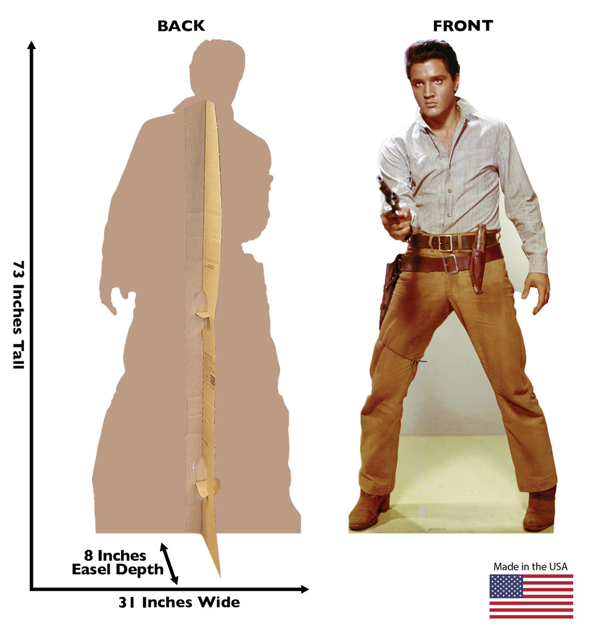 Elvis Gunfighter Cardboard Cutout front and back view