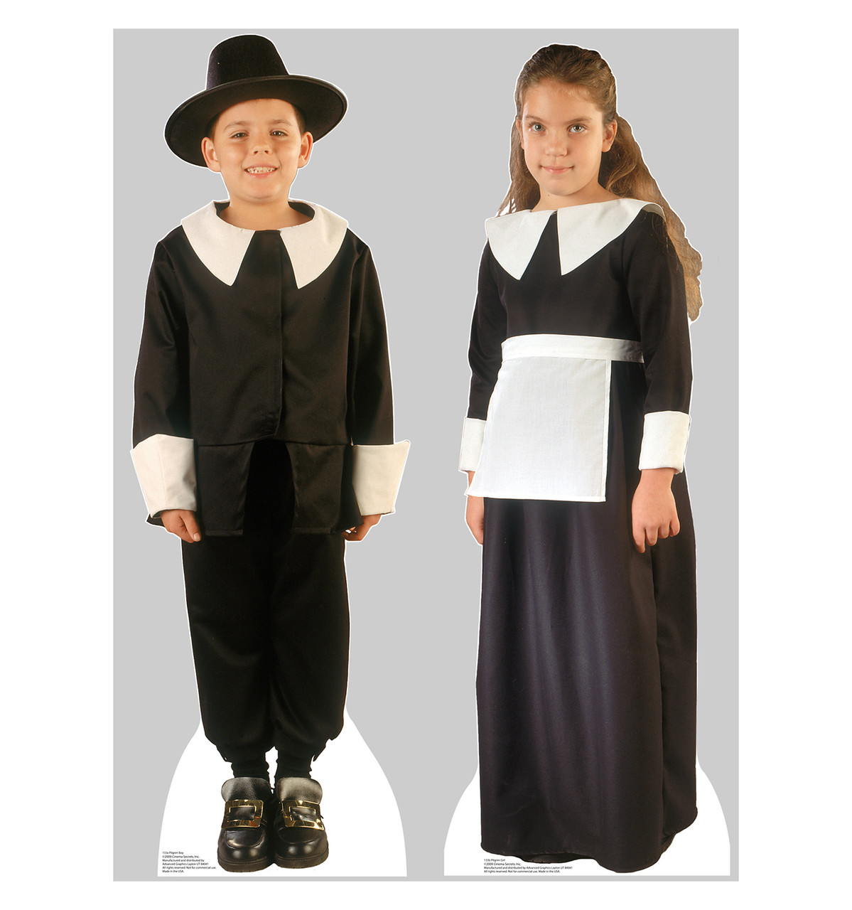 Life Size Pilgrim Boy And Girl Cardboard Standup Cardboard Cutout