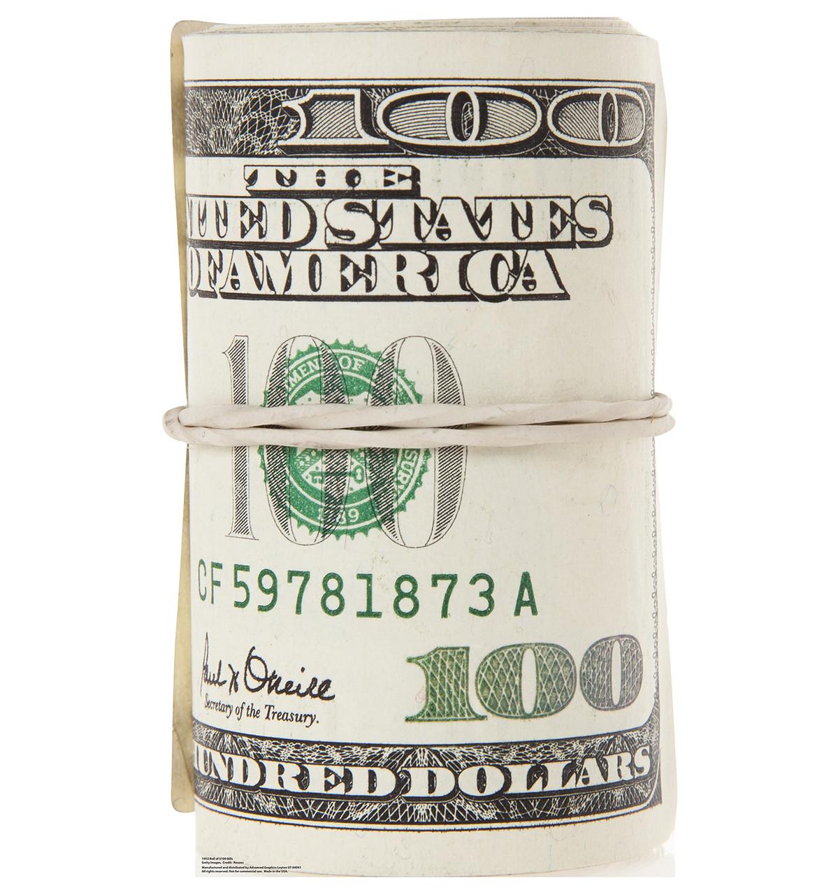 Life-size Roll of $100 Bills Cardboard Standup