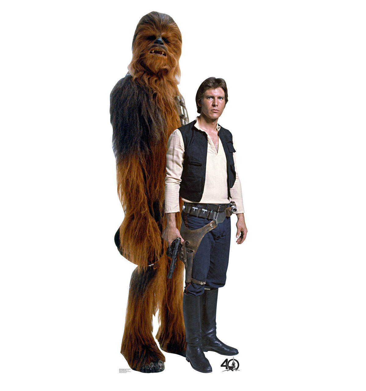 Life-size Han Solo and Chewbacca (Star Wars 40th) Cardboard Standup