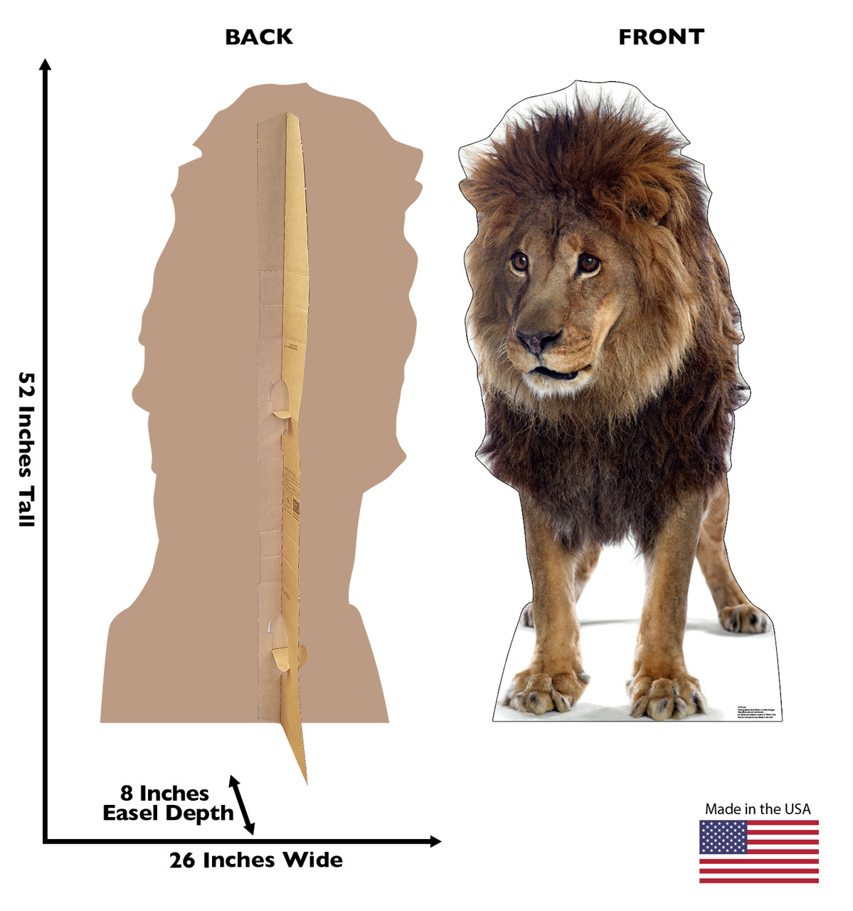 Life-size cardboard standee of a Lion with front and back dimensions.