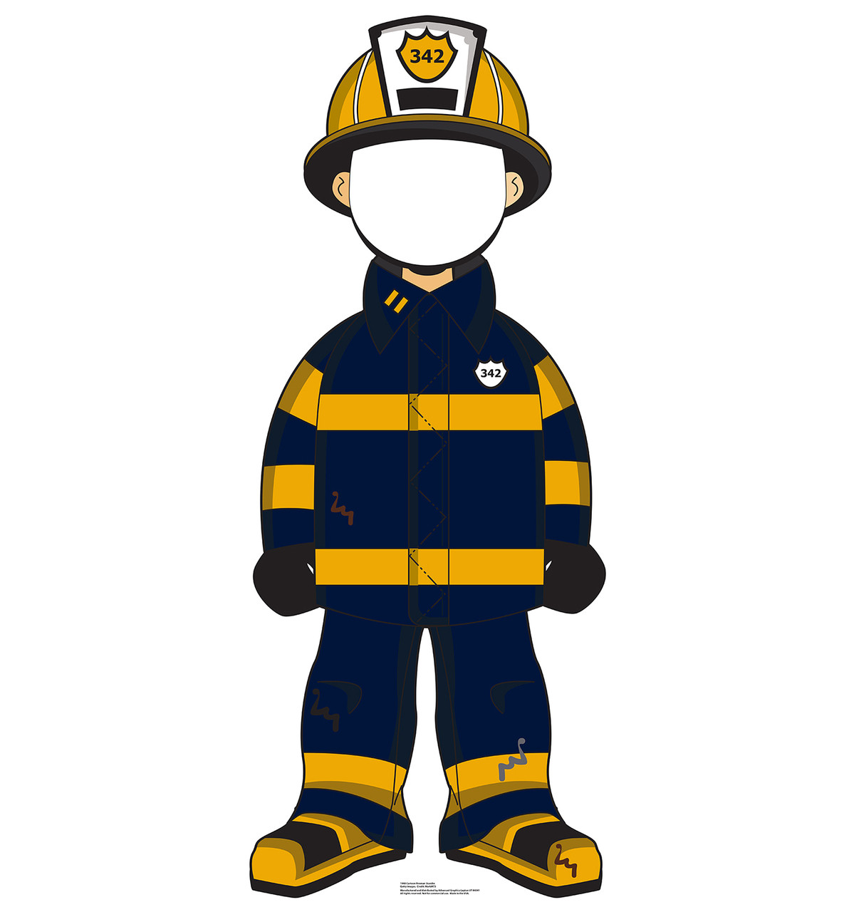 Life-size Cartoon Fireman Standin Cardboard Standup