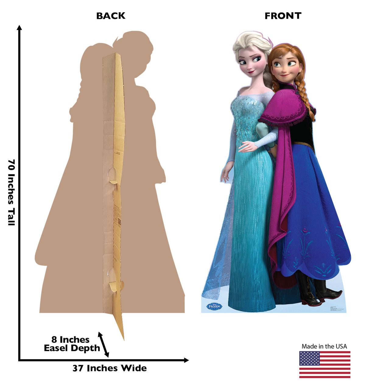 Elsa and Anna - Disney's Frozen Cardboard Cutout front and back view