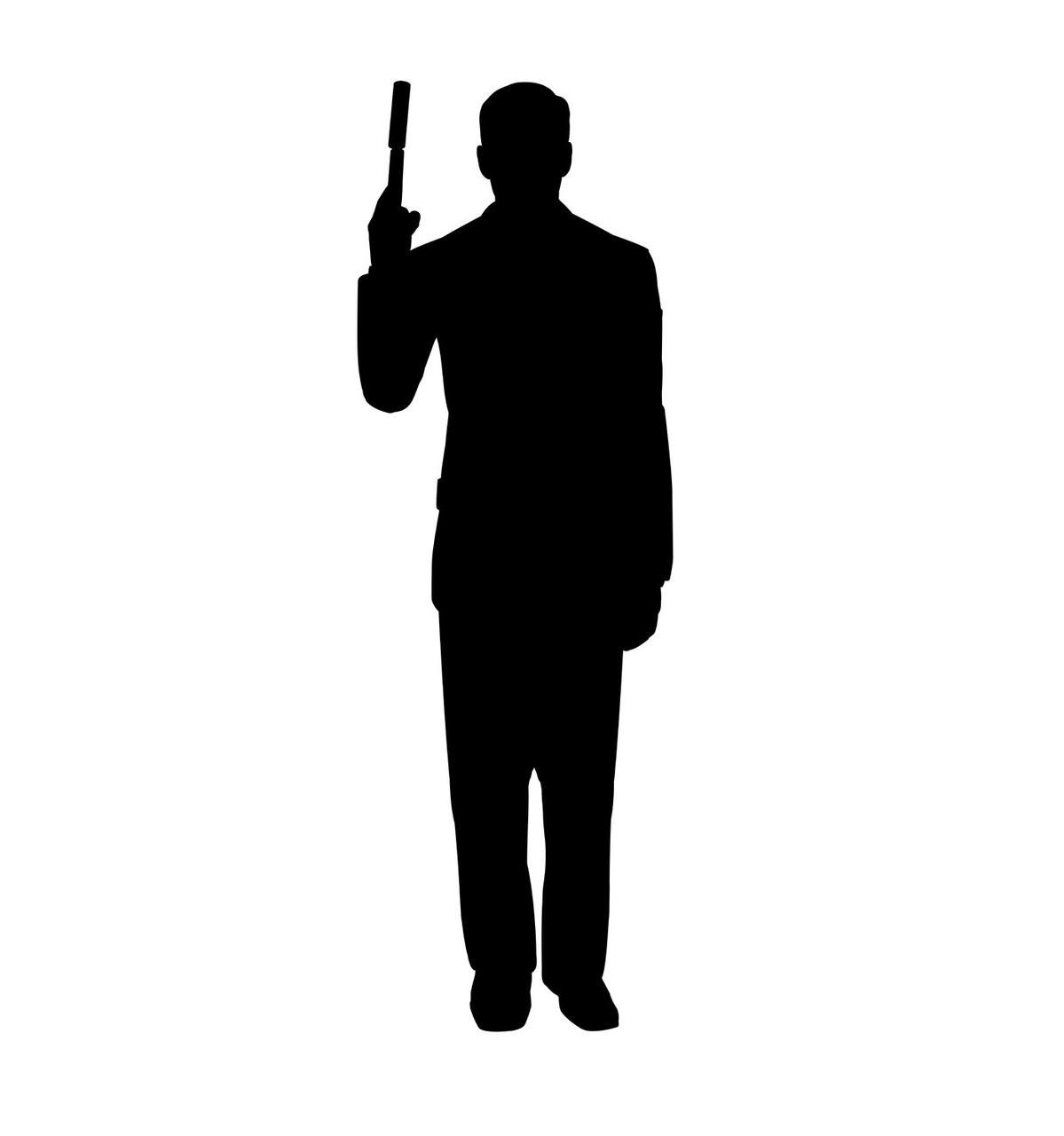 Life-size Secret Agent Spy With Gun Silhouette Cardboard Standup