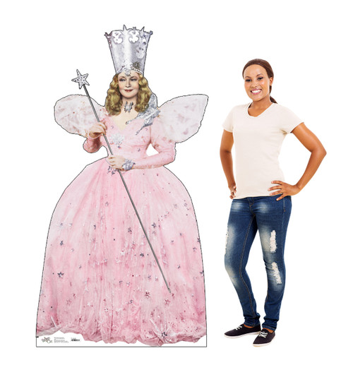 Life size Cardboard Cutout Standee of Glinda the Good With from the Wizard of Oz with model for size comparison