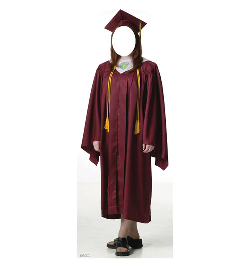 Life-size Female Graduate Red Cap and Gown Cardboard Standup