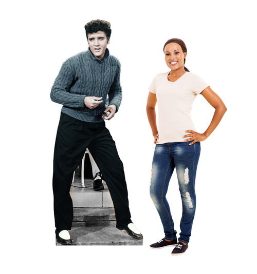 Elvis Blue Sweater Cardboard Cutout 844 with model