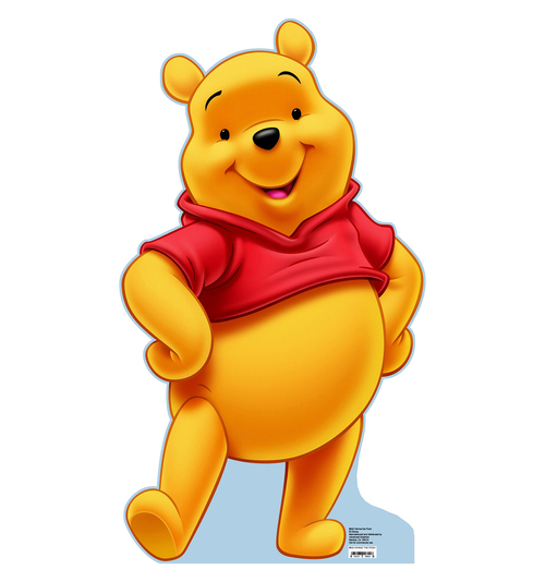 Life-size cardboard standee of Winnie the Pooh.