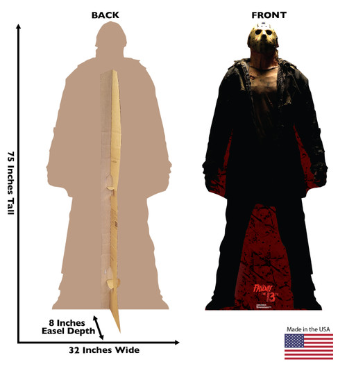 Life-size cardboard standee of Jason Voorhees Dark - Friday the 13th with front and back dimensions.