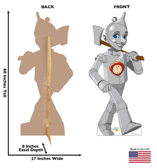 Life-size cardboards standee with back and front dimensions.