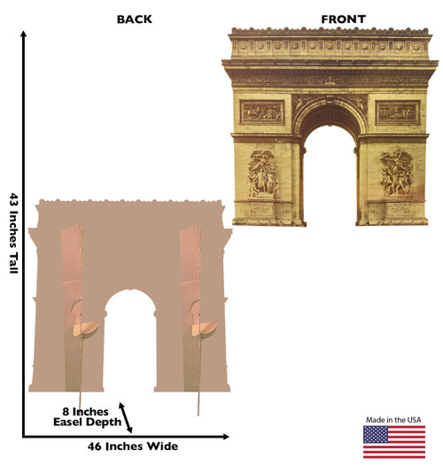 Cardboard standee of the Paris Arc de Triomphe with back and front dimensions.