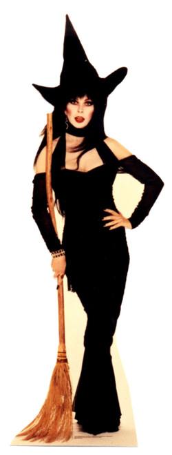 Life-size Elvira with Broom Cardboard Standup