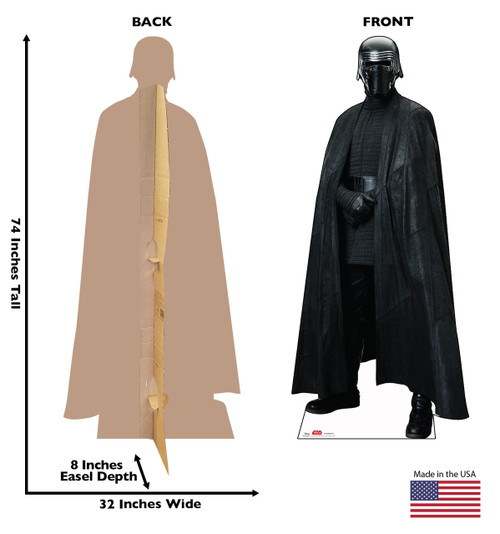 Kylo Ren - Star Wars: The Last Jedi Life- Size Cardboard Cutout 2 with back and front dimensions