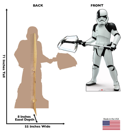 Executioner Trooper - Star Wars: The Last Jedi Life-Size Cardboard Cutout 3 with back and front dimensions