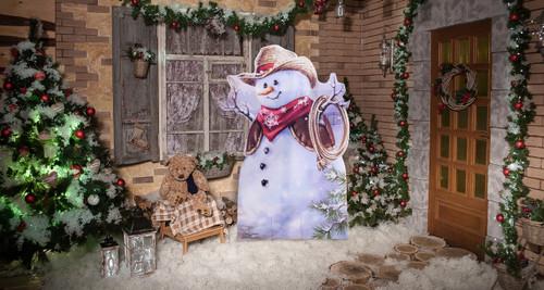 Little Cowboy Snowman Standee Outdoor