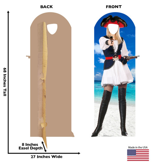 Front and back of standin with dimensions