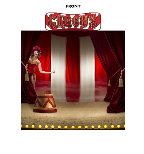 Front view of Circus Backdrop Double Wide with Header.