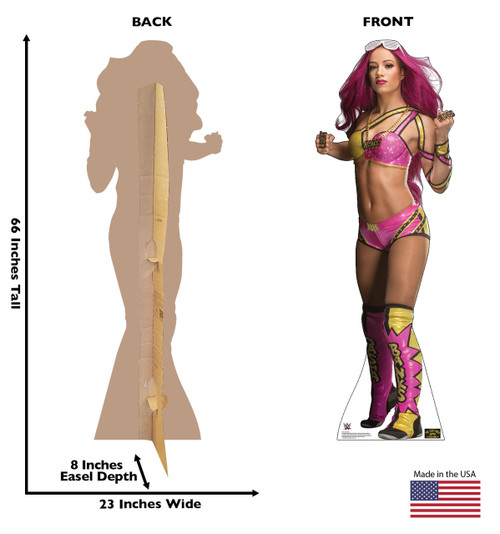 Sasha Banks Cardboard Cutout Life-size cardboard standee front and back with dimensions