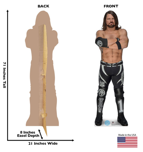 Life-size cardboard standee front and back with dimensions