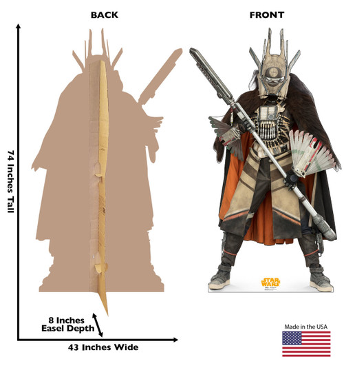 Enfys Nest™ Life-size cardboard standee back and front with dimensions.