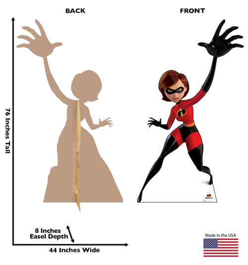 Elastigirl Life-size cardboard standee back and front with dimensions.