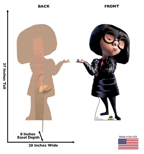 Edna Mode Life-size cardboard standee back and front with dimensions.