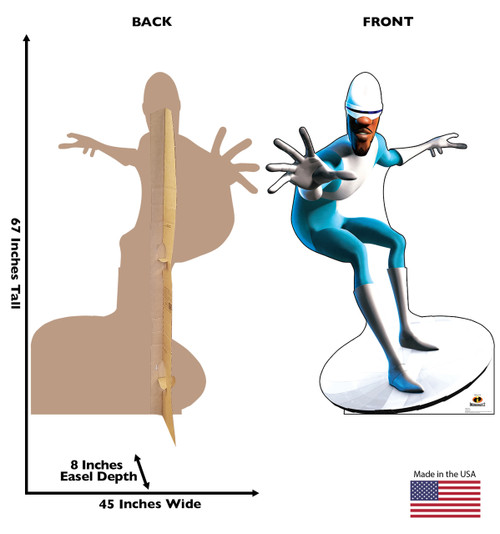 Frozone Life-size cardboard standee back and front with dimensions.