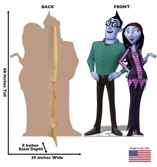 Boris and Oxana Cardboard Cutout Life-size cardboard standee back and front with dimensions.