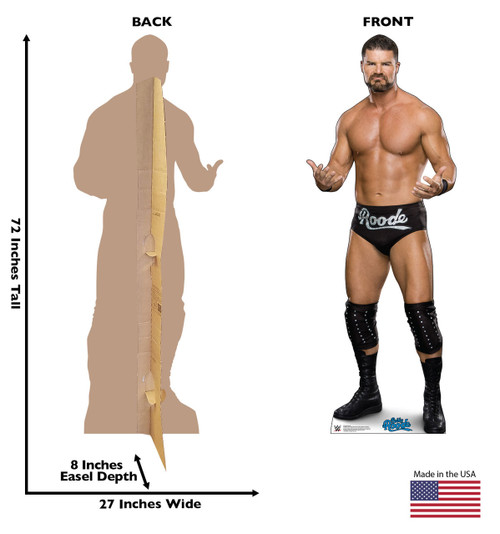 Bobby Roode Life-size cardboard standee front and back with dimensions.