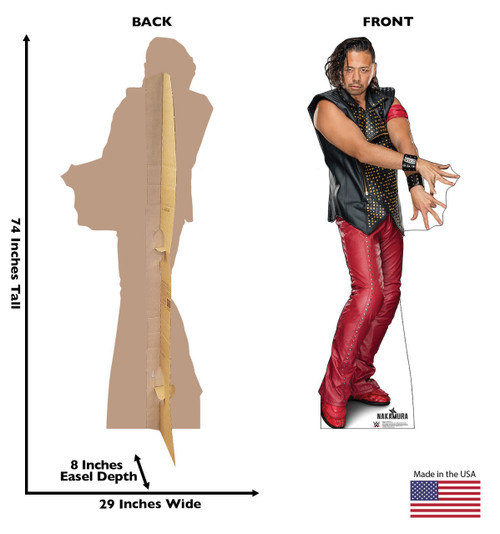 Shinsuke Nakamura Life-size cardboard standee front and back with dimensions.