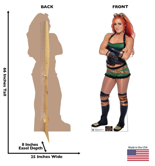 Becky Lynch Life-size cardboard standee front and back with dimensions.