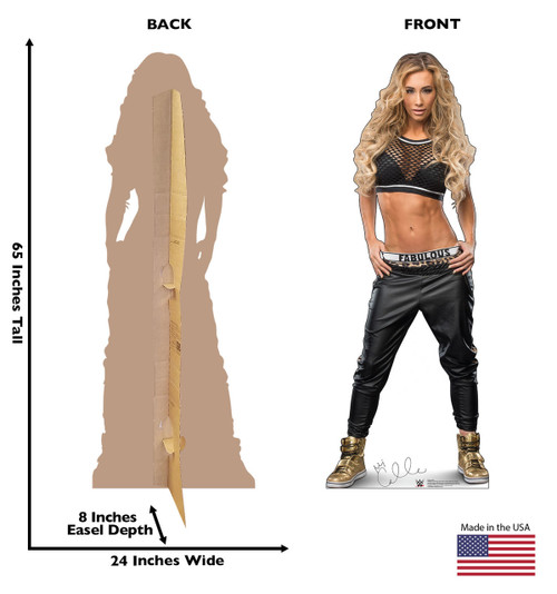 Carmella Life-size cardboard standee front and back with dimensions.