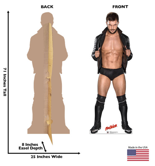 Finn Balor Life-size cardboard standee front and back with dimensions.