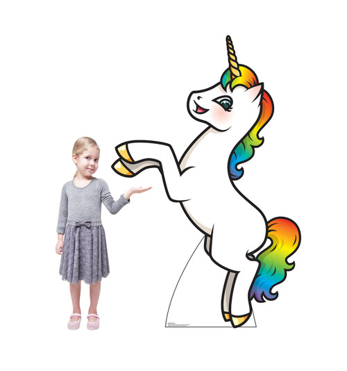 Life-size cardboard standee of a Rainbow Unicorn with model.