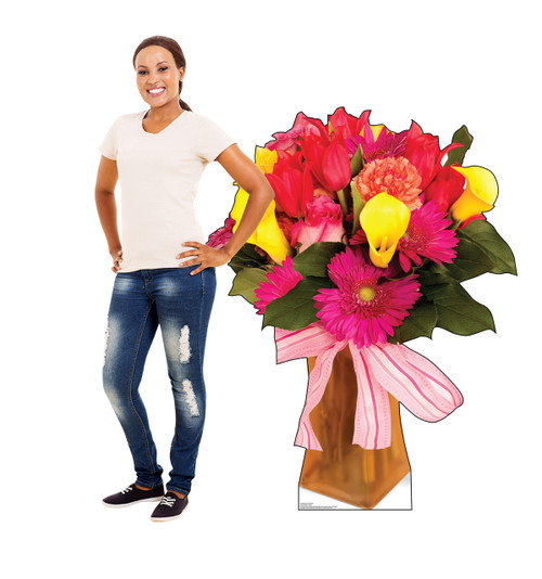 Life-size cardboard standee of a Bouquet of Flowers with model.