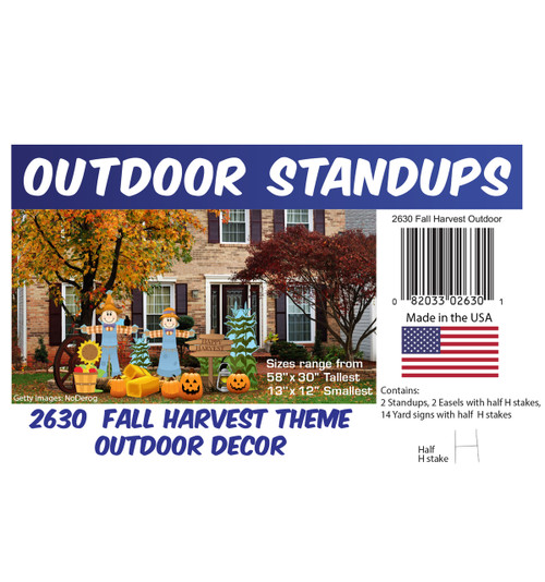 Fall Harvest Theme Outdoor Decor with setting, dimensions and list of items included.