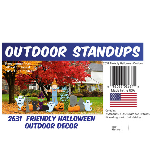 Friendly Halloween Theme Outdoor Decor with setting, dimensions and list of items included.