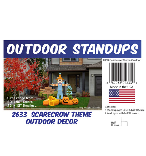 Scarecrow Theme Outdoor Decor with setting, dimensions and list of items included.