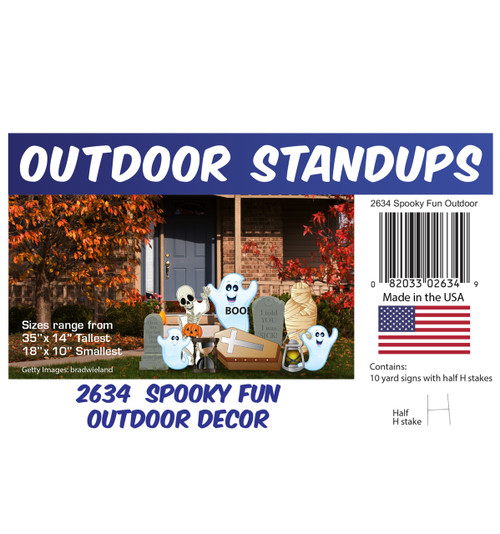 Spooky Fun Outdoor Decor with setting, dimensions and list of items included.