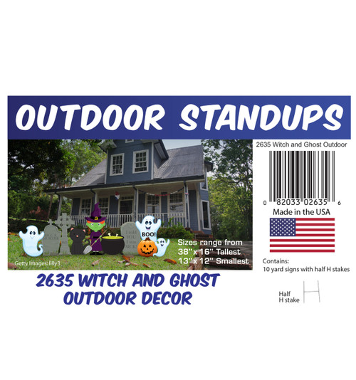 Witch and Ghosts Outdoor Decor with setting, dimensions and list of items included.